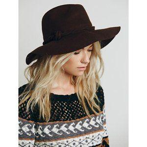 NWT Free People Brown Wool Felt Clipperton Hat